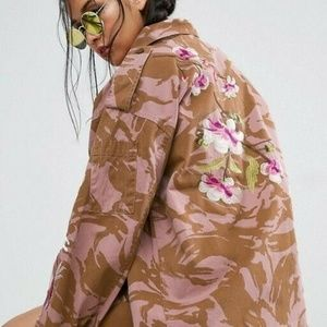 Asos womens 4 Pink Camo Floral Embroidered Jacket